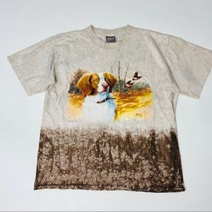 Vintage T-Shirt Hunting Dog 90s All Over Print XL